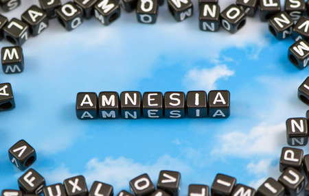The word amnesia on the sky background Stock Photo
