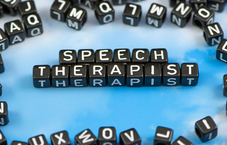 homeschooling: The word Speech therapist on the sky background Stock Photo