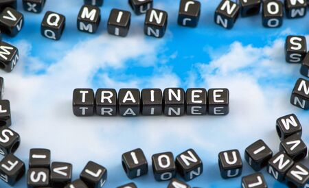 apprenticeship: The word trainee on the sky background Stock Photo