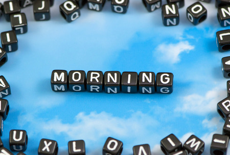 The word morning on the sky background Stock Photo