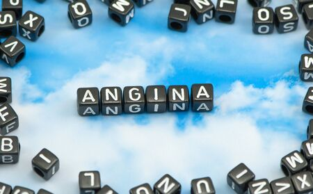 choking: The word Angina on the sky background Stock Photo