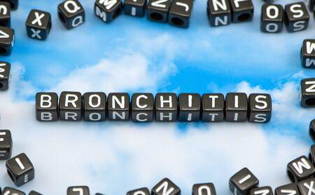 bronchitis: The word Bronchitis on the sky background Stock Photo
