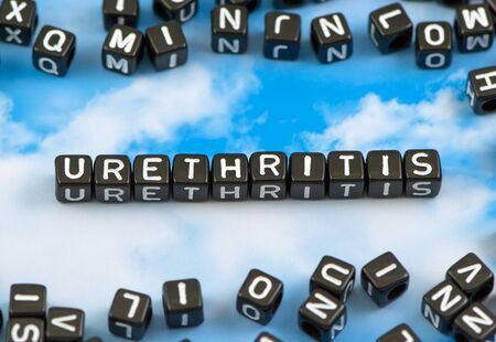 urethral: The word Urethritis on the sky background Stock Photo