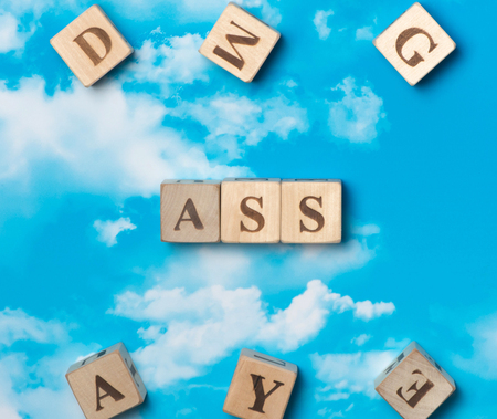 The word ass on the sky background