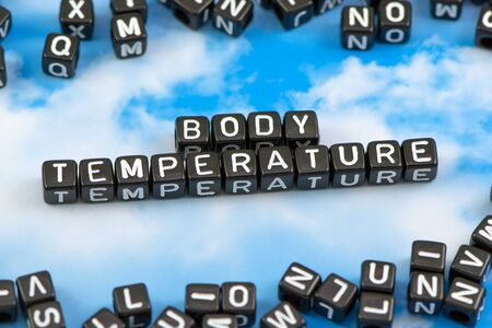 body temperature: The word Body temperature on the sky background