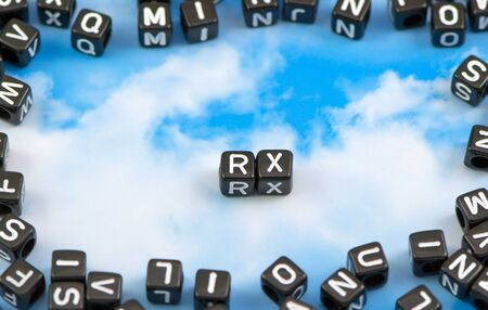 The word RX on the sky background Stock Photo
