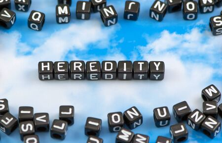 The word heredity on the sky background Stock Photo