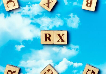 rx: The word RX on the sky background Stock Photo