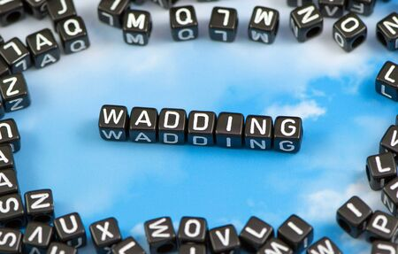 The word wadding on the sky background