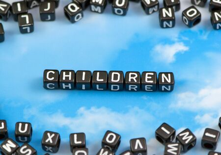 The word Children on the sky background Stock Photo