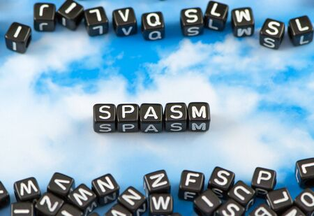 spasm: The word spasm on the sky background