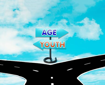 dilemma: The dilemma between old age and youth in the symbol of road signs Stock Photo