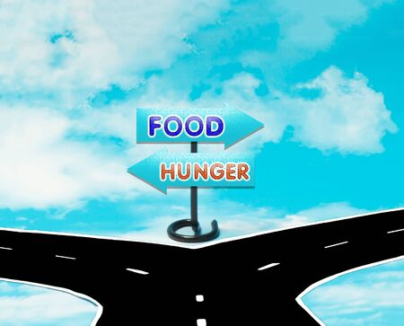dilemma: The dilemma between food and hunger in the symbol of road signs