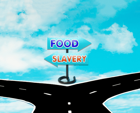 dilemma: The dilemma between slavery and freedom in the symbol of road signs