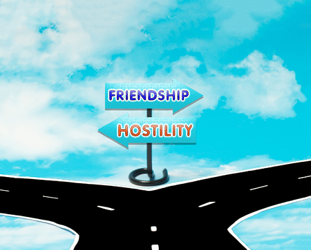 dilemma: The dilemma between friendship and hostility in the symbol of road signs