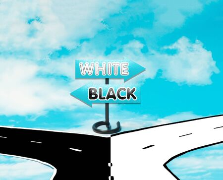hesitation: The dilemma between white and black in the symbol of road signs Stock Photo
