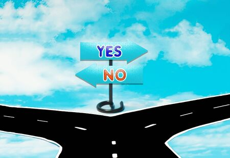 yes no: The choice between yes or no in concept form Stock Photo