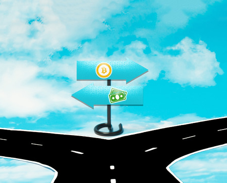 dilemma: The dilemma between money and Bitcoin in the symbol of road signs Stock Photo
