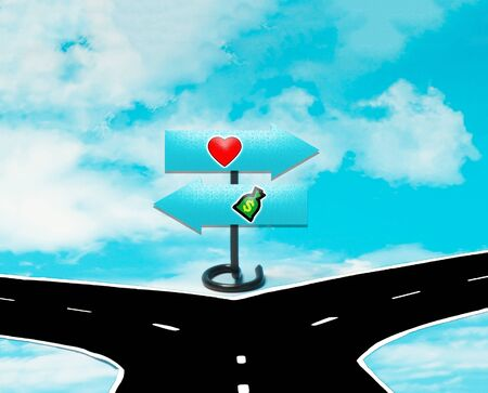 dilemma: The dilemma between love or money in the symbol of road signs Stock Photo