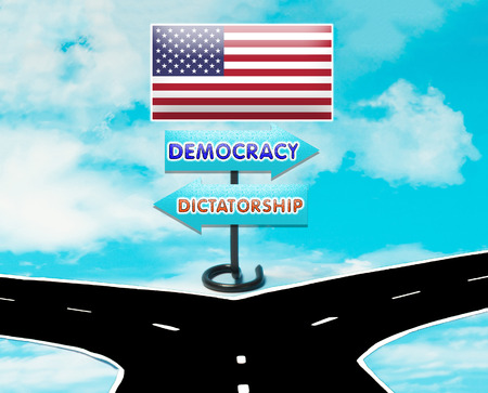 trump: The choice between democracy and dictatorship in the United States in the symbol