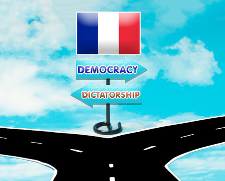 democracy: The choice between democracy and dictatorship in France symbol