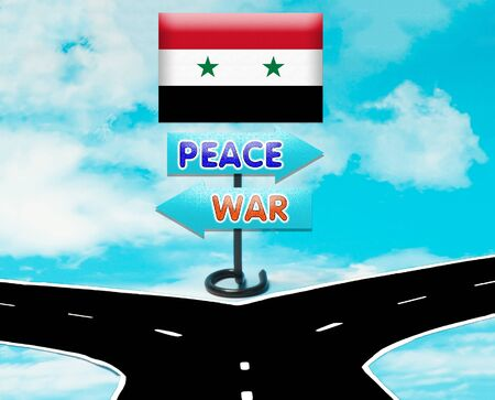 syria peace: The choice between peace or war in Syria as a symbol Stock Photo