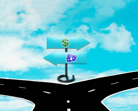 dilemma: The dilemma between money and the dollar in the symbol of road signs
