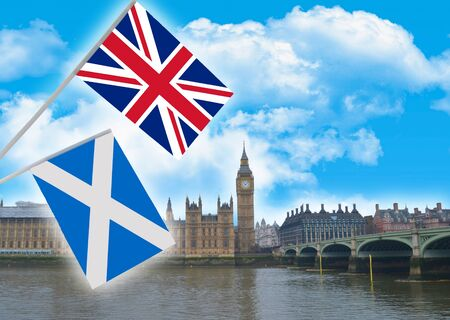 The independence of Scotland in the form of the concept of two flags on the background of London Stock Photo