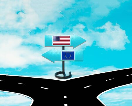 Disagreements between the US and the EU as a concept Stock Photo