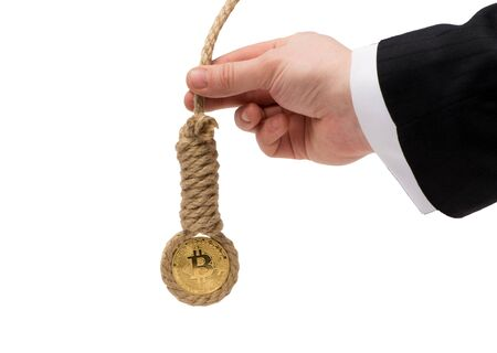 Bitcoin is trapped on a white background Stock Photo
