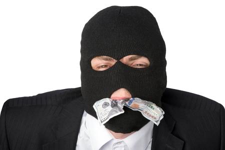 Counterfeiter on a white background