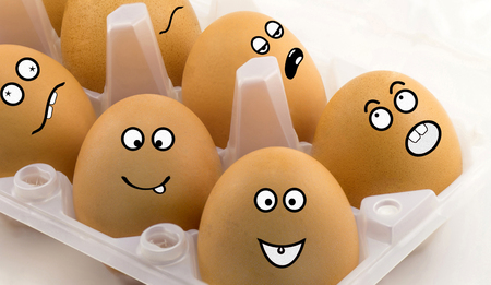 Emotion of eggs on a white background