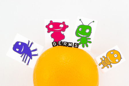 Germs are sitting on the orange closeup