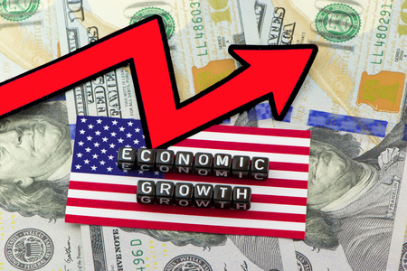 The graph of growth of the US economy Imagens