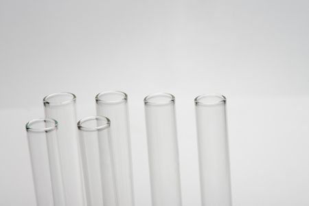 Empty test tubes close-up
