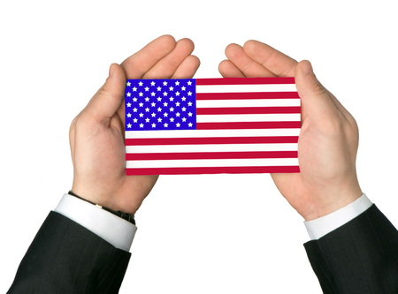 US flag in hands