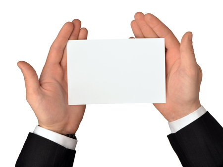 Blank blank sheet of white paper holds in hands