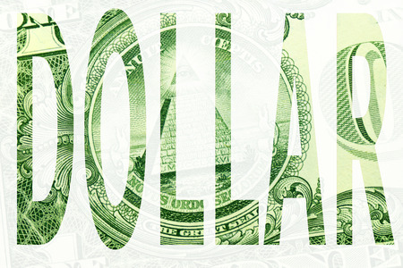 Word dollar on white background Imagens