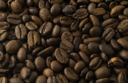 Coffee grains in the form of a background