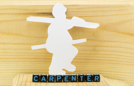 The concept of the profession as a carpenter profile Фото со стока