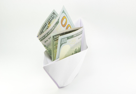 The ship is the dollars on a white background