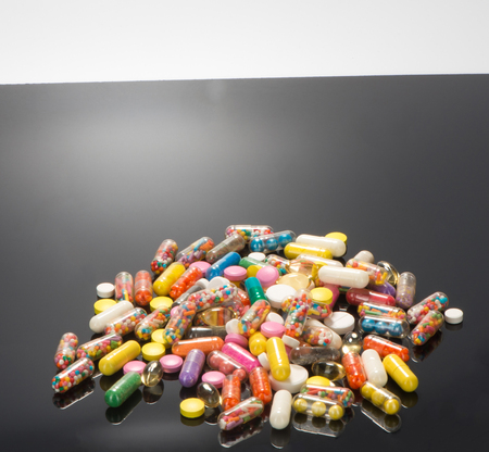 Many beautiful colored pills
