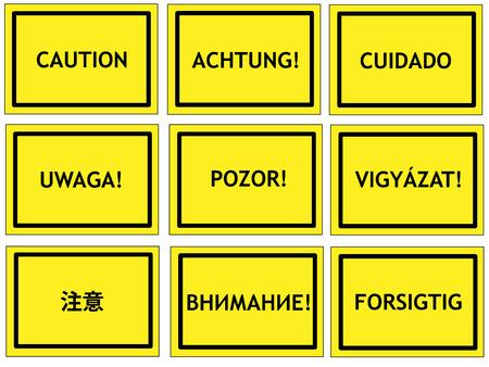 danish: Warning signs in English, German, Spanish, Polish, Czech, Hungarian, Chinese, Russian and Danish