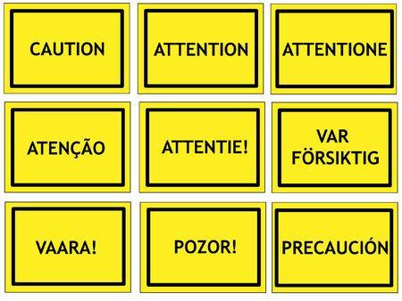 Señales de advertencia en Inglés, francés, italiano, portugués, holandés, sueco, finlandés, esloveno y español Foto de archivo - 3042688