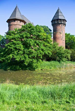 burg: Medieval Fortress. Burg Linn in Germany. Stock Photo