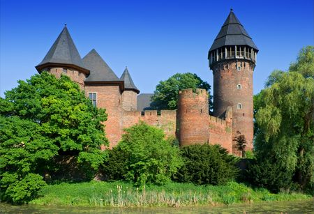 architectural tradition: Medieval Fortress. Burg Linn in Germany. Stock Photo