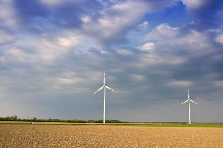 Rural landscape with windmills photo