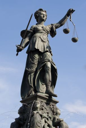 law scale: The Statue of Lady Justice in Frankfurt, Germany