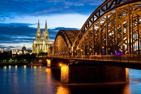 Cologne cathedral after sunset photo