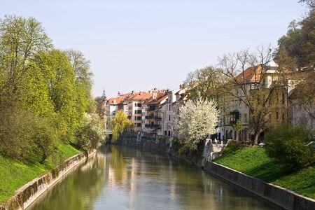 slovenian: The river Ljubljanica in the Slovenian capital Ljubljana Stock Photo